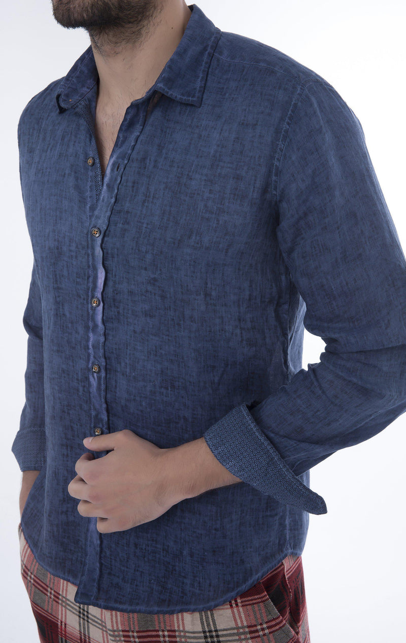 Italian Collar Fitted Button Down Linen Shirt - Navy - Ron Tomson