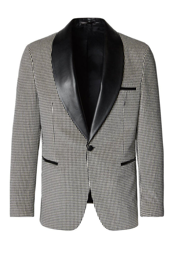 Italian Velvet Leather Shawl Lapel Tuxedo - Houndstooth - Ron Tomson