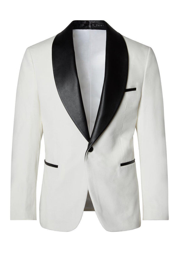 Italian Velvet Leather Shawl Lapel Tuxedo - Ivory White - Ron Tomson