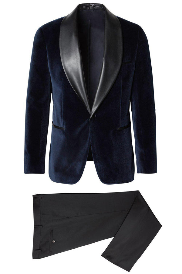 Italian Velvet Leather Shawl Lapel Tuxedo - Navy - Ron Tomson ?id=15030696706133