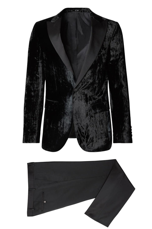 Italian Velvet Tuxedo - Shaded Black - Ron Tomson