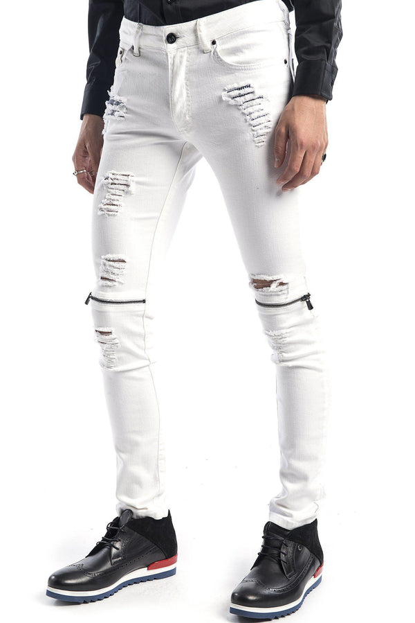Knee Zip Distressed Jeans - WHITE BLACK - Ron Tomson