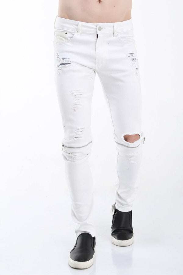 Knee Zip Distressed Jeans - WHITE SILVER - Ron Tomson