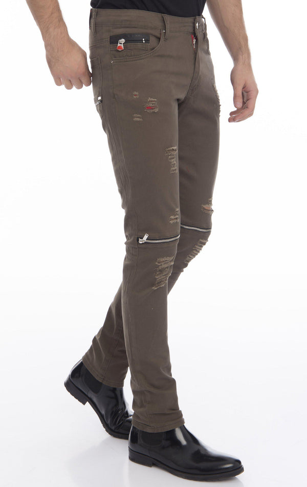 Knee Zip Fitted Washed Tapered Jeans - Green Silver - Ron Tomson