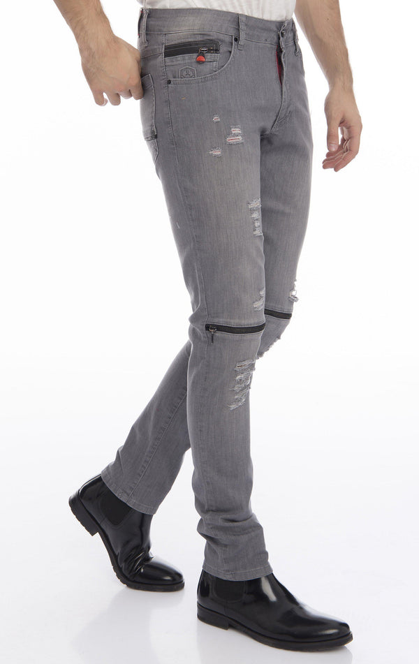Knee Zip Fitted Washed Tapered Jeans - Grey Black - Ron Tomson