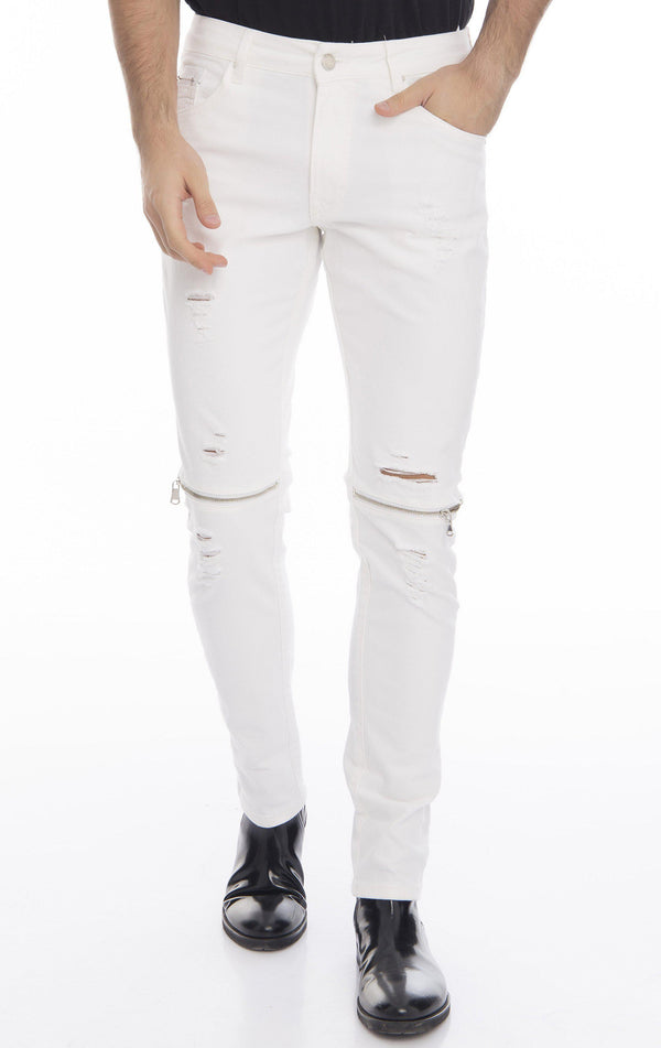 Knee Zip Fitted Washed Tapered Jeans - White Silver - Ron Tomson
