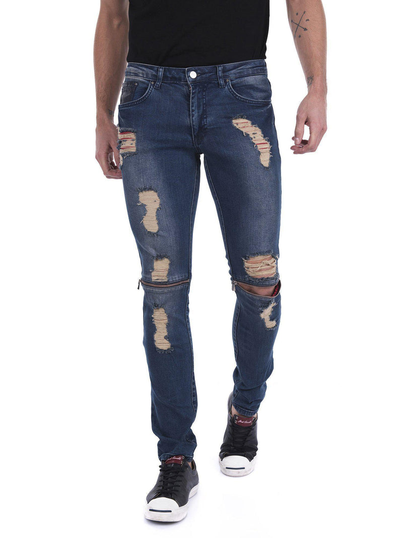 Knee Zip Heavy Distressed Jeans - NAVY - Ron Tomson