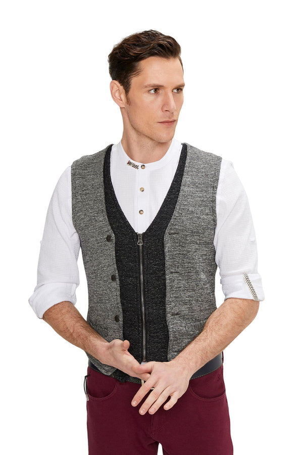 Layered Look Slim Fit Zip Vest - Anthracite - Ron Tomson ?id=13860196614229