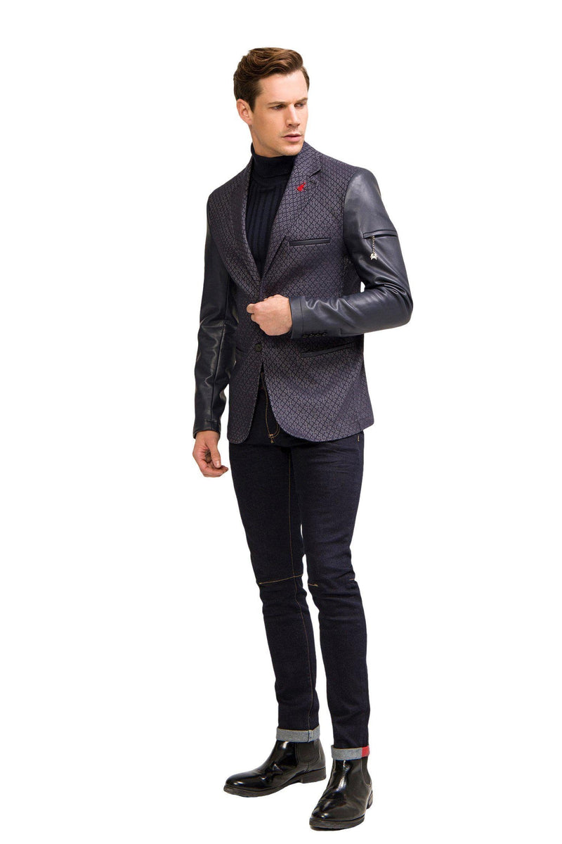 Leather Sleeve Two-Button Blazer - Black Sax - Ron Tomson