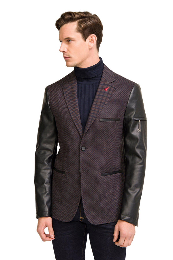 Leather Sleeve Two-Button Blazer - Brown - Ron Tomson