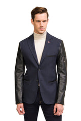 Leather Sleeve Two-Button Blazer - Navy - Ron Tomson