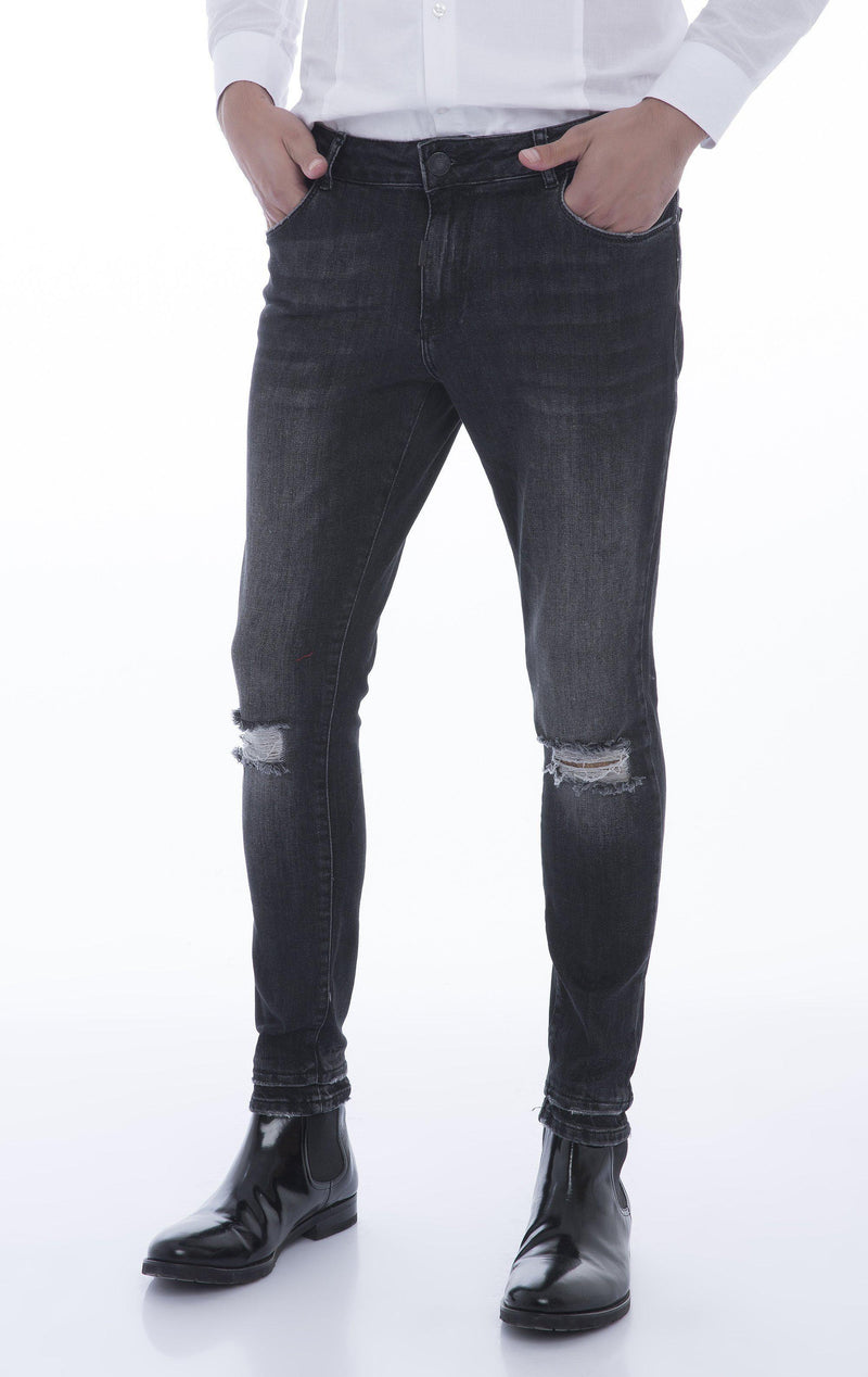 Let-Out Hem Knee Distressed Slim Fit Jeans - Black - Ron Tomson