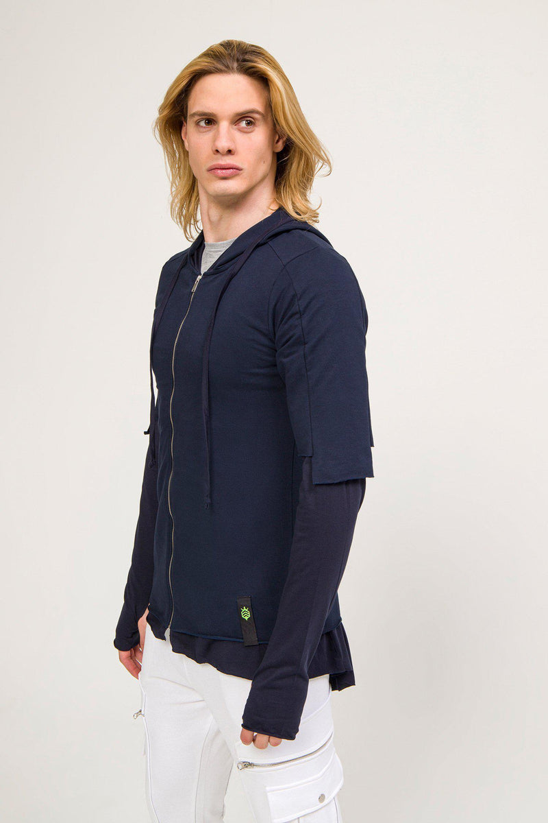 LIGHTWEIGHT LAYERED ZIP HO0DIE - NAVY - Ron Tomson