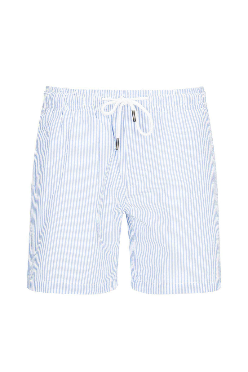 LIGHTWEIGHT STRIPED SHORTS - BLUE - Ron Tomson