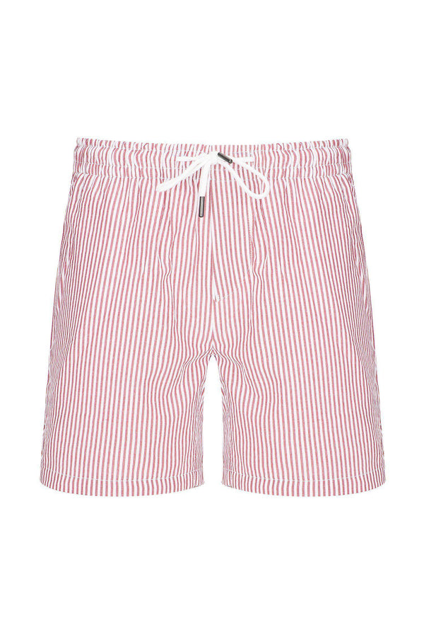 LIGHTWEIGHT STRIPED SHORTS - BURGUNDY - Ron Tomson
