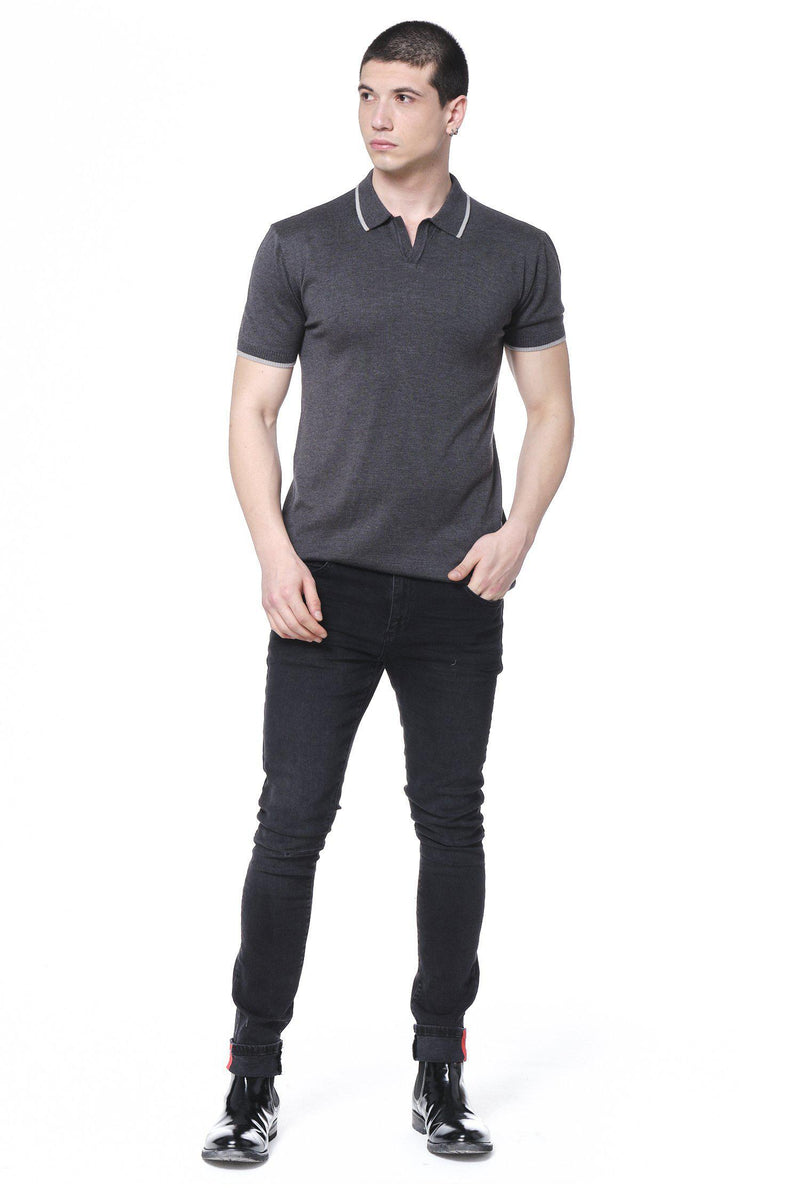 Lite Open Collar Polo - Anthracite - Ron Tomson