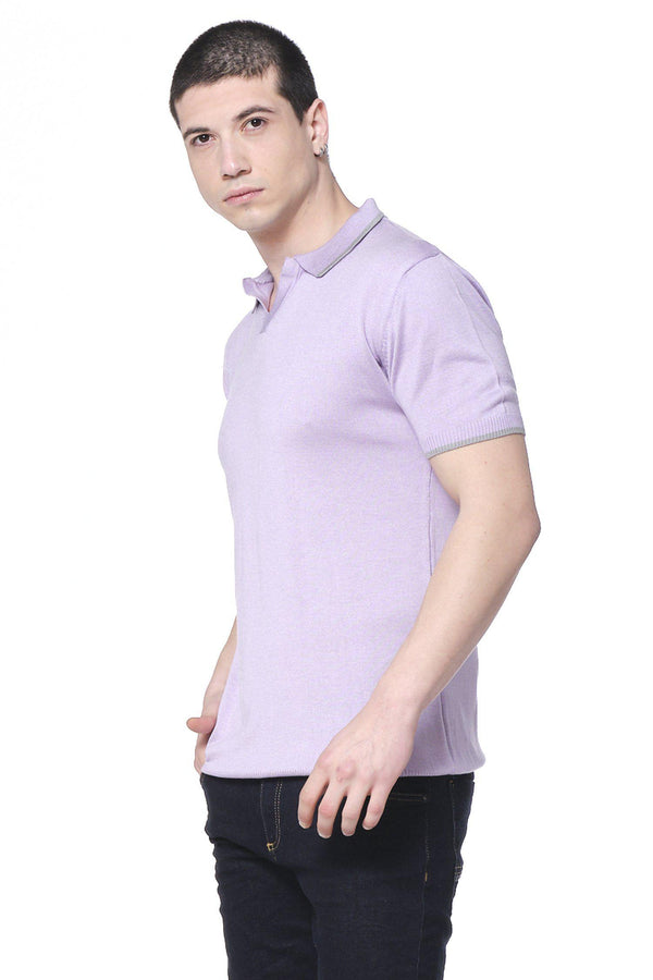 Lite Open Collar Polo - Purple - Ron Tomson
