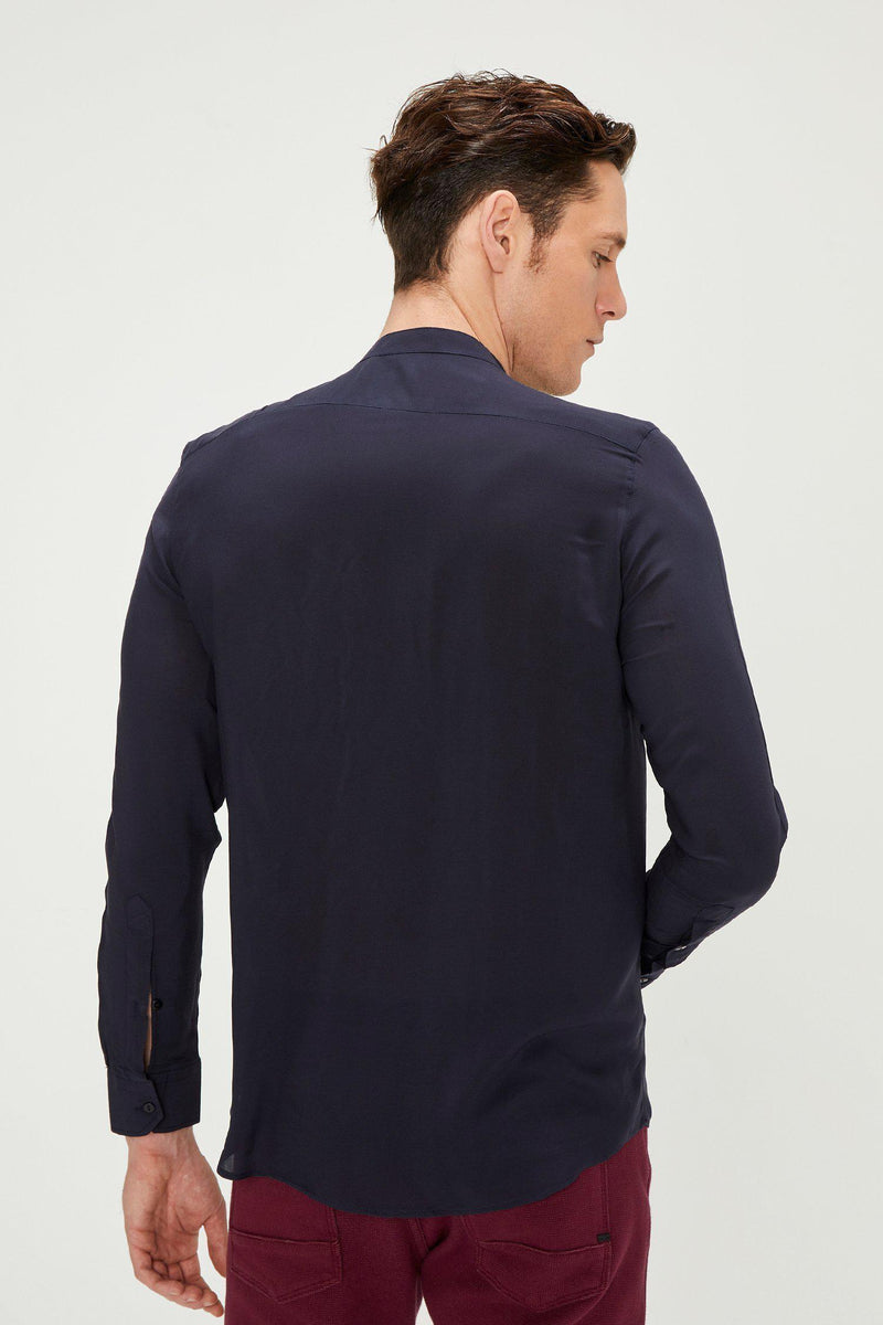 Long Sleeve Shirt in Navy - Ron Tomson