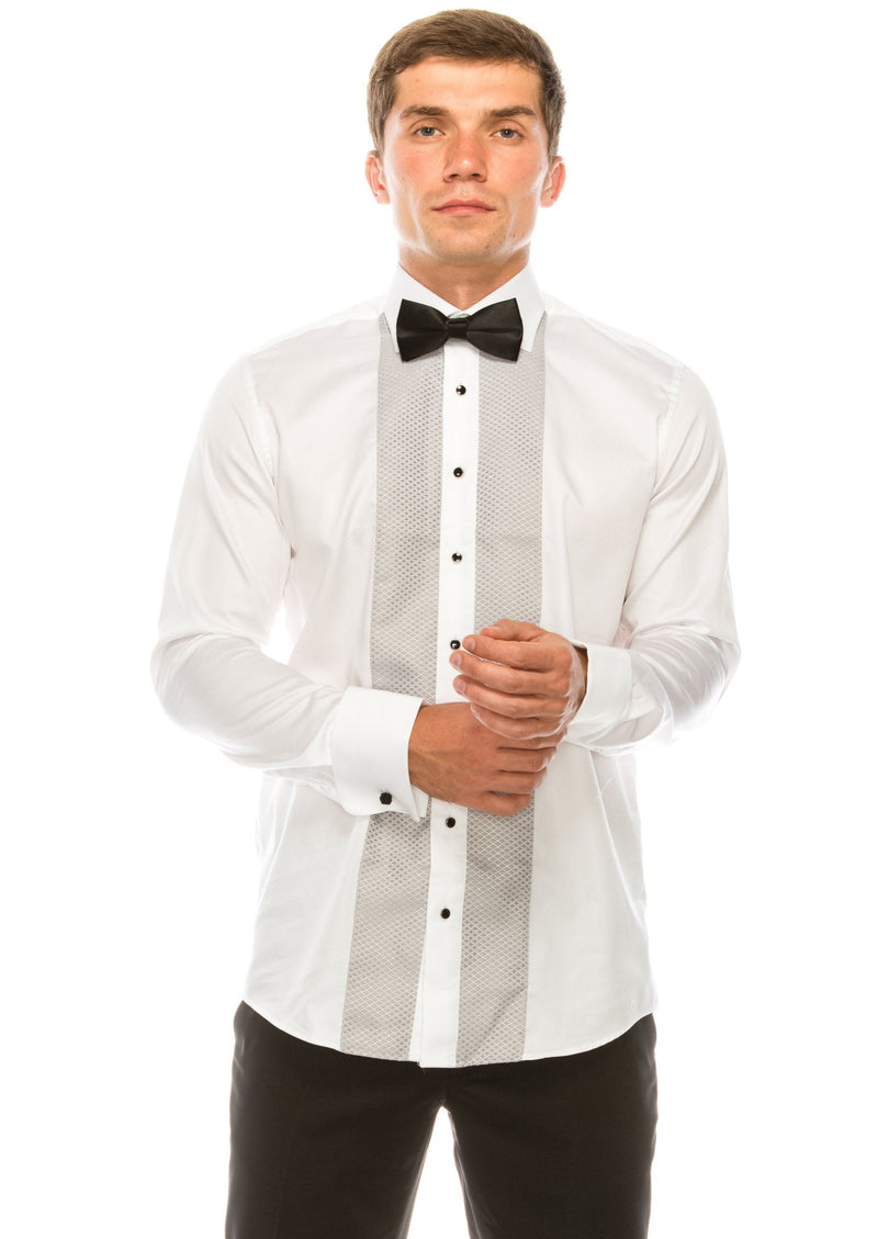 Lurex Paneled Spread Collar Shirt - WHITE GREY - Ron Tomson