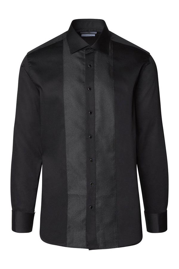Lurex Paneled Spread Collar Tux Shirt - Jet Black - Ron Tomson