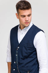 Luther Chain Detail Vest - Navy - Ron Tomson