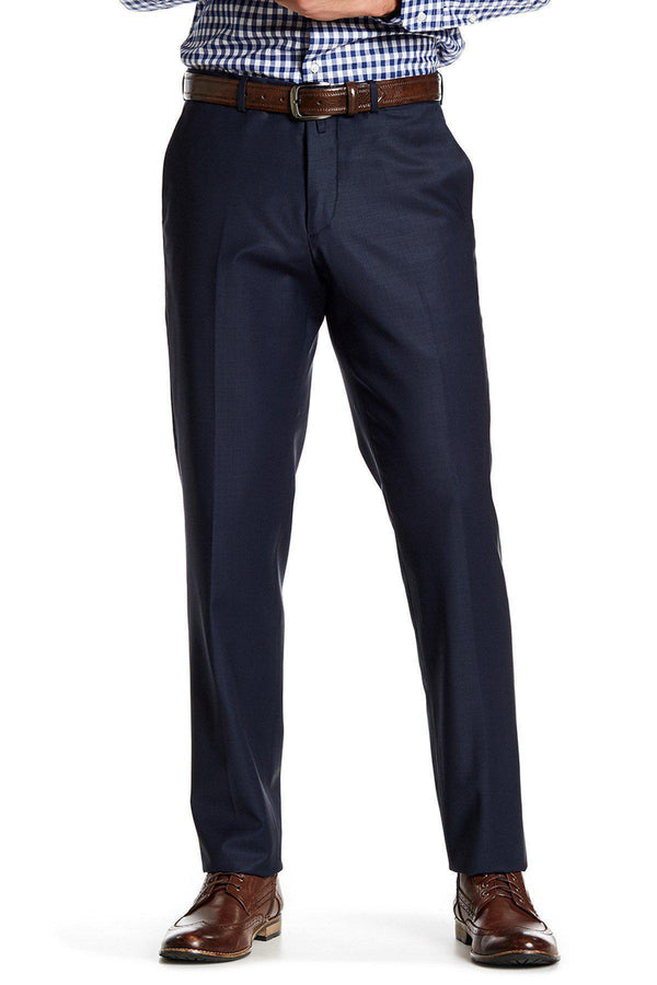 Merino Wool Dress Pants - Dark Blue - Ron Tomson