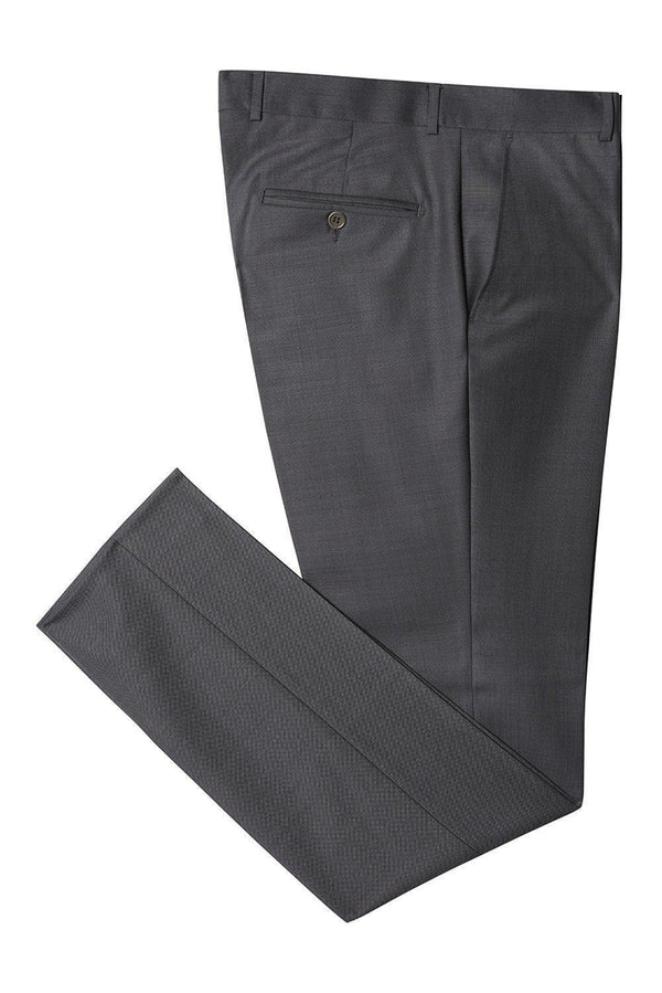 Merino Wool Tapered Dress Pants - Black Navy - Ron Tomson ?id=14482543411285