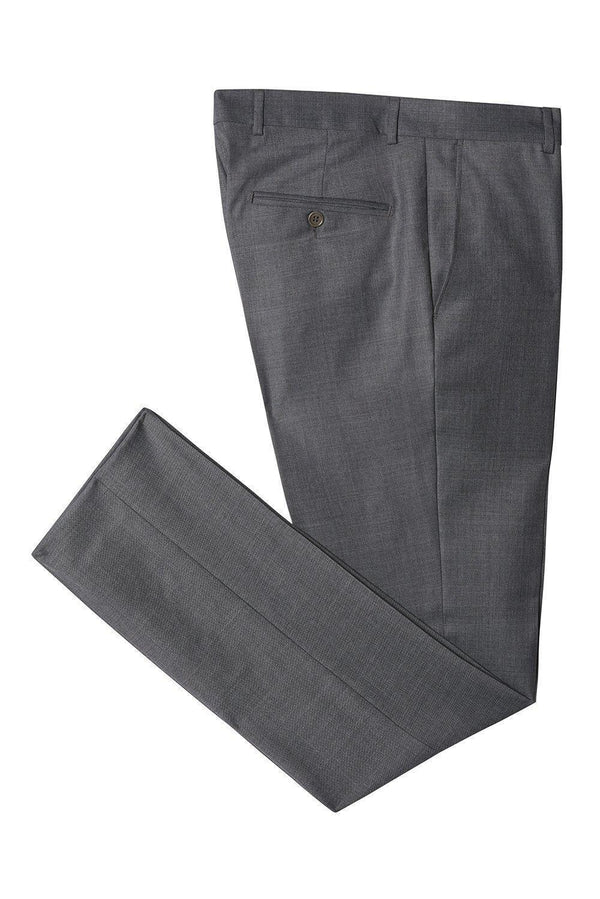 Merino Wool Tapered Dress Pants - Charcoal - Ron Tomson