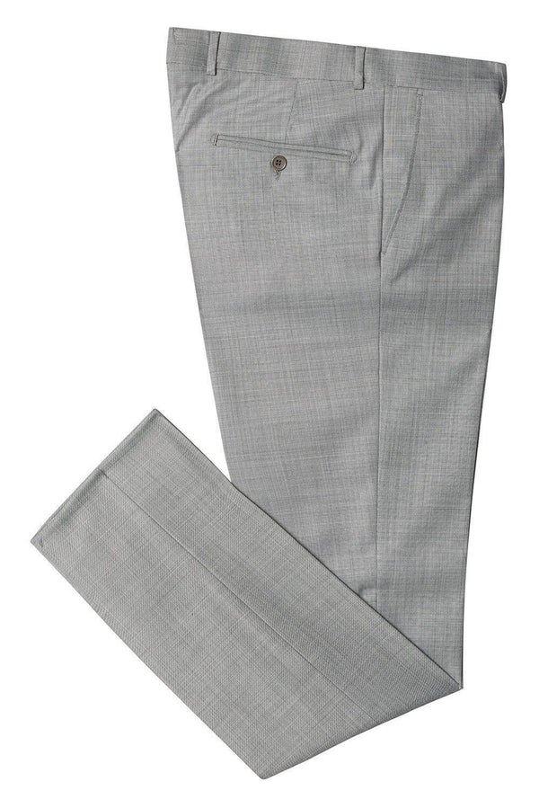 Merino Wool Tapered Dress Pants - Grey - Ron Tomson
