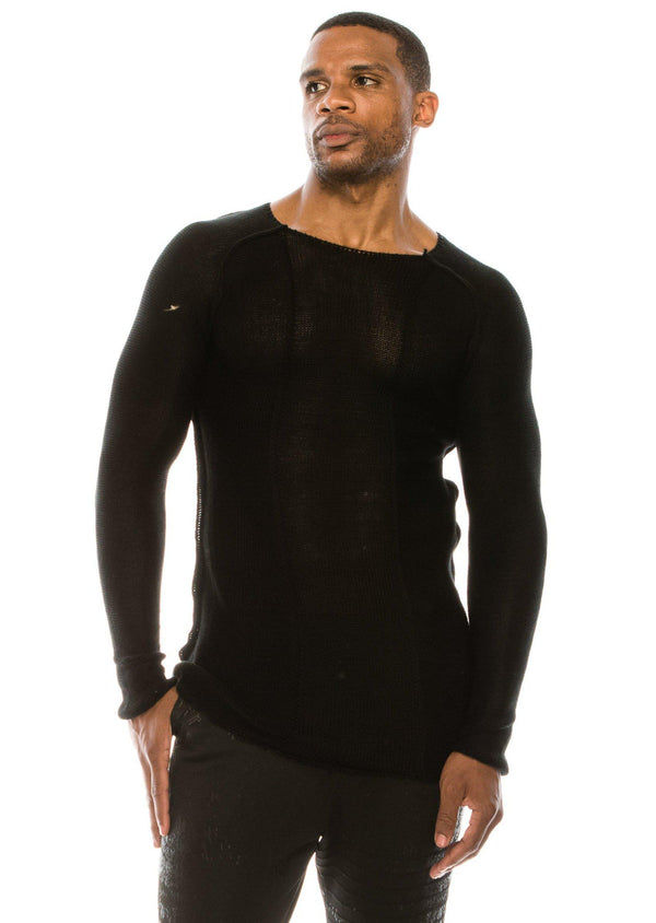 MESH STRETCHY SWEATER - Black - Ron Tomson