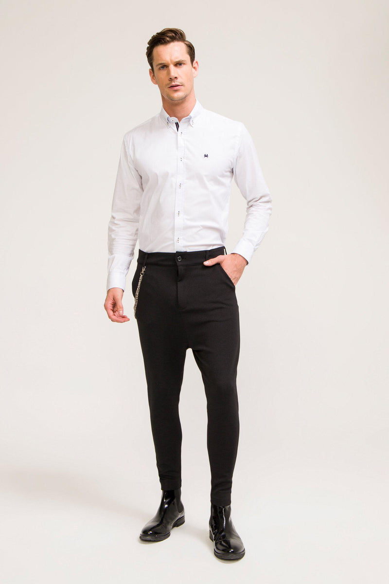 Mid Weight Chain Detail Trouser - Black - Ron Tomson ?id=13861258166357