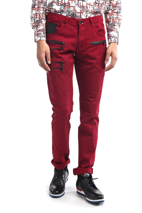 Multi Zipper Moto Jeans - Red Black - Ron Tomson