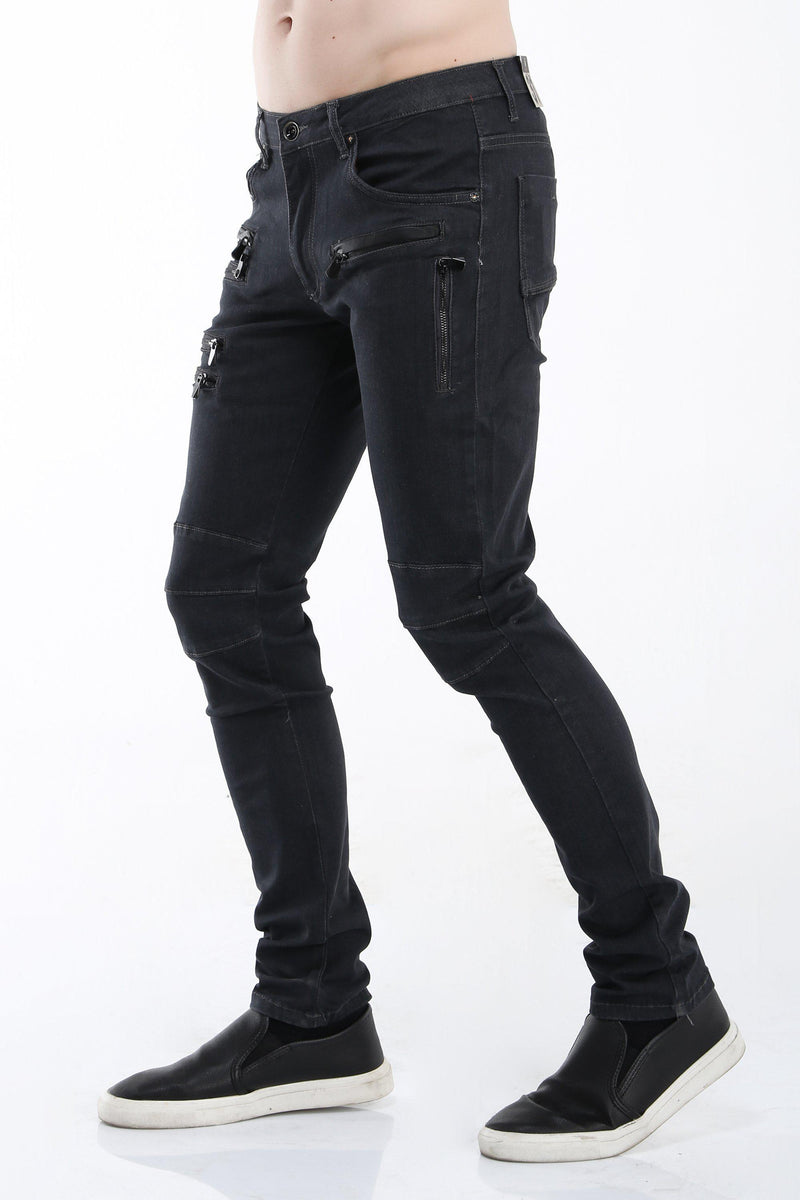 Multi Zipper Moto Tapered Jeans - Grey Black - Ron Tomson ?id=13859601416277