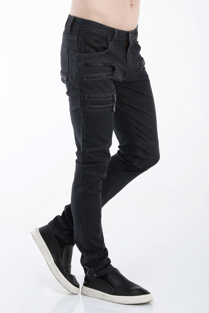 Multi Zipper Moto Tapered Jeans - Grey Black - Ron Tomson ?id=13859601907797