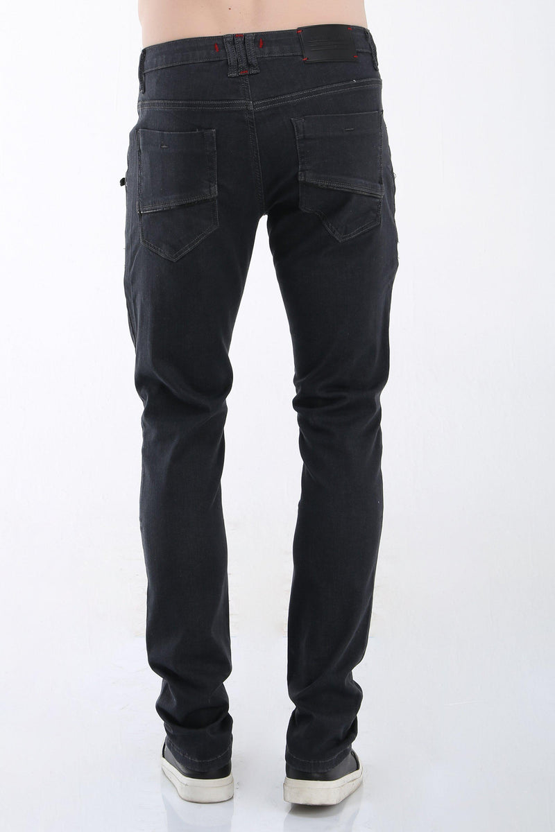 Multi Zipper Moto Tapered Jeans - Grey Black - Ron Tomson ?id=13859602530389