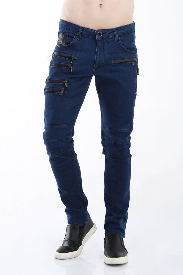 Multi Zipper Moto Tapered Jeans - Navy Black - Ron Tomson