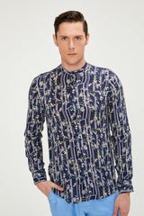 Nature Long Sleeve Shirt - Navy Floral - Ron Tomson