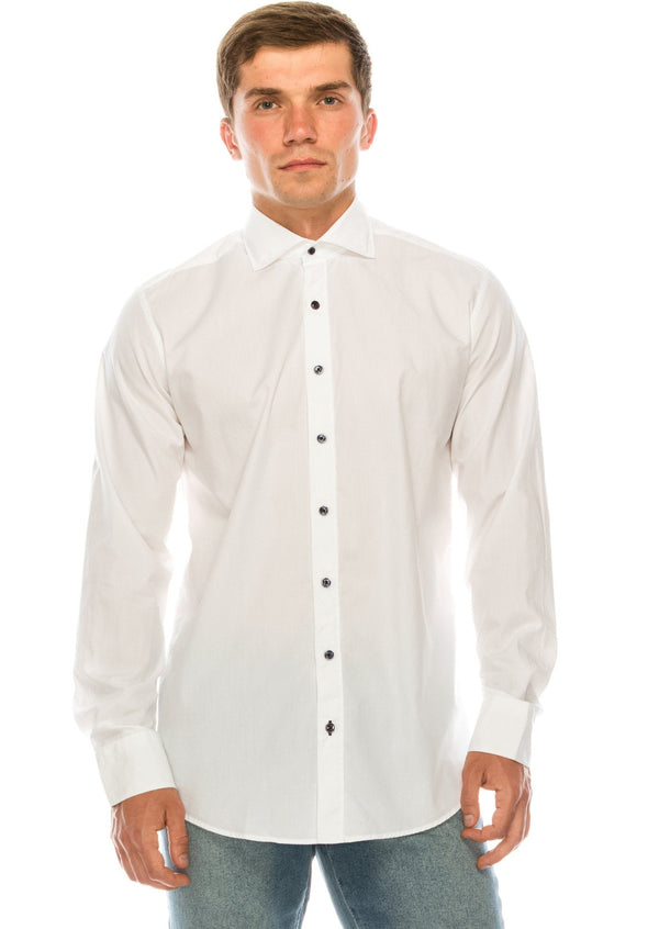 Organic Cotton Poplin Tonal Button Dress Shirt - White - Ron Tomson