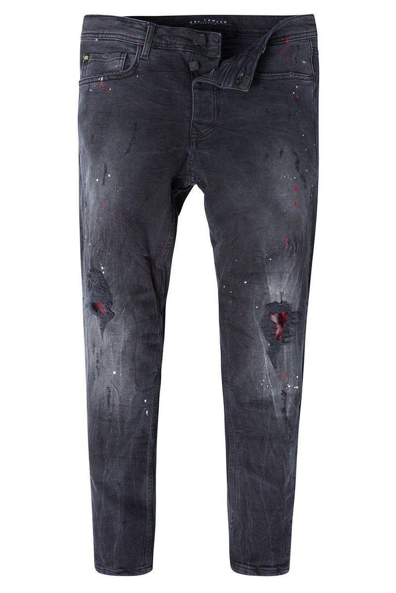 PATCHWORK WASHED BLACK SLIM FIT JEANS - Ron Tomson