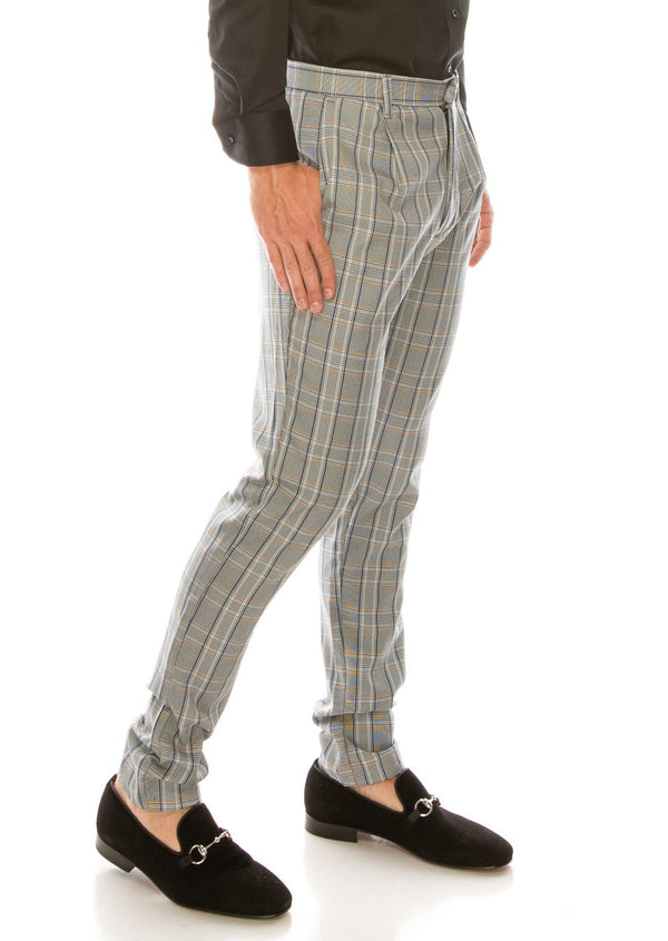 Patterned Slim Fit Casual Trouser- GREY MUSTARD - Ron Tomson