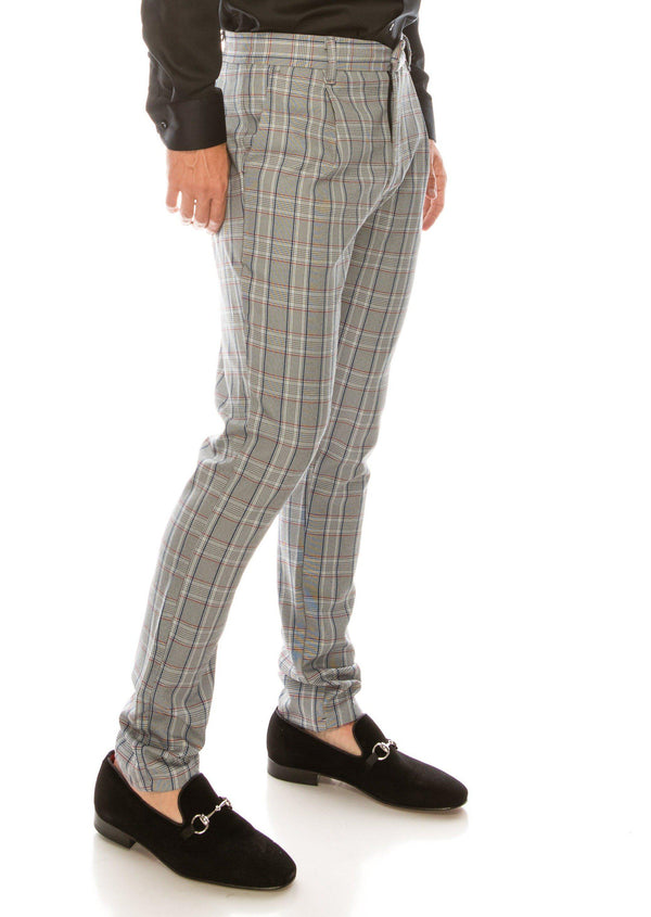 Patterned Slim Fit Casual Trouser - GREY RED - Ron Tomson