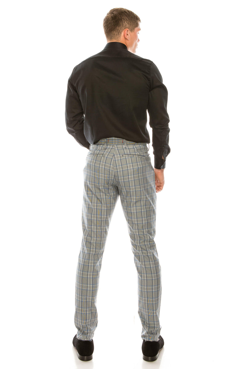Patterned Slim Fit Casual Trouser - GREY SAX - Ron Tomson