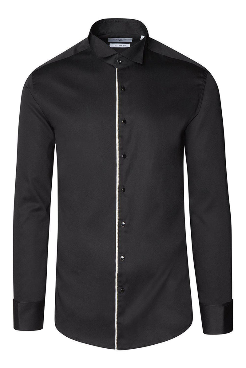 Piped Lurex Detailed Tuxedo Shirt - Black White - Ron Tomson