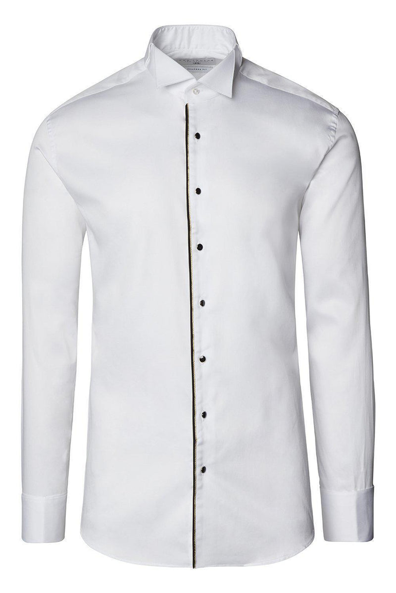 Piped Lurex Detailed Tuxedo Shirt - White Black - Ron Tomson