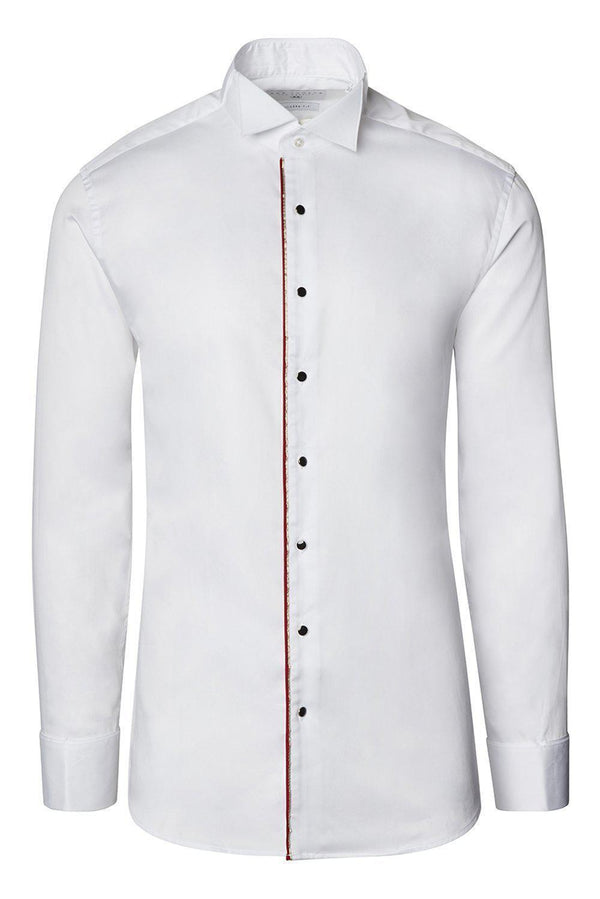 Piped Lurex Detailed Tuxedo Shirt - White Red - Ron Tomson