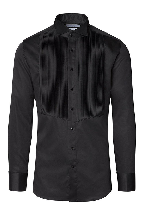 Pure Cotton Pleated Wing Tip Collar Shirt - Black Black - Ron Tomson