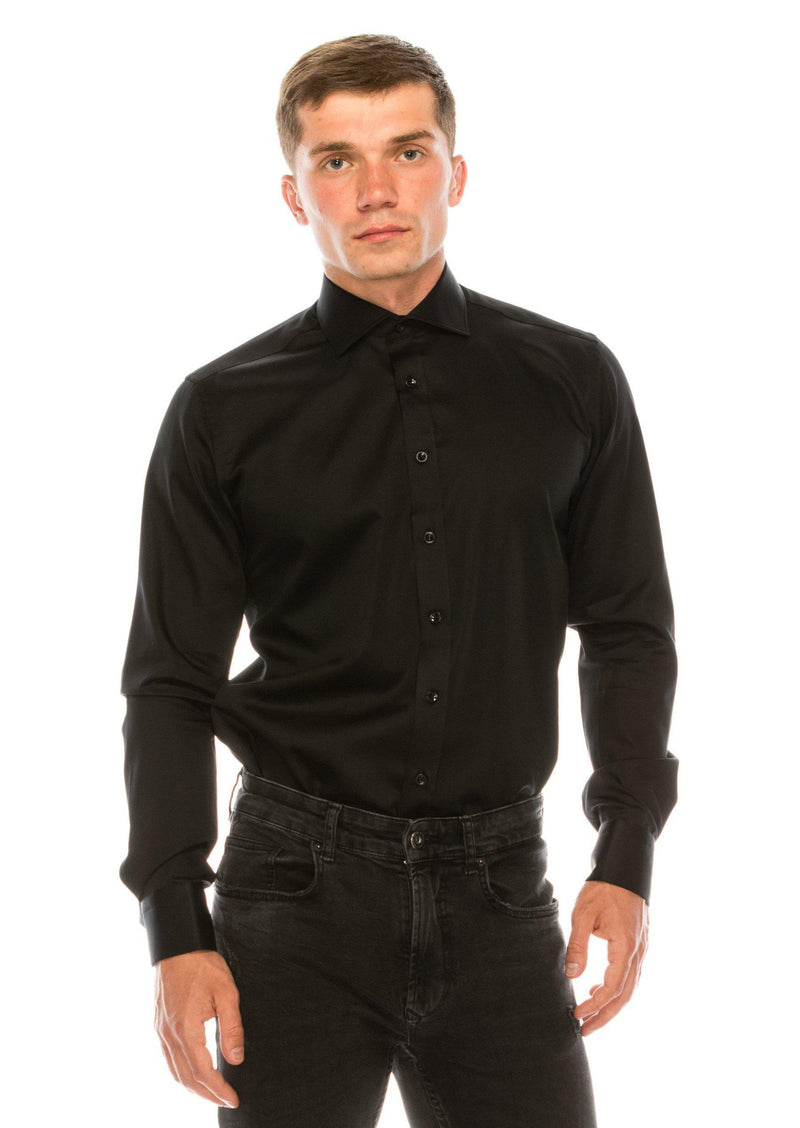 Pure Cotton Spread Collar Fitted Dress Shirt - Jet Black - Ron Tomson ?id=15030664724565
