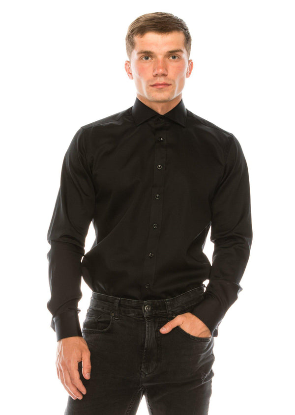 Pure Cotton Spread Collar Fitted Dress Shirt - Jet Black - Ron Tomson