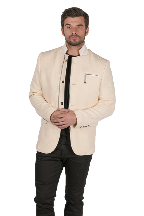 Quilted Zip Button Sports Coat - ECRU - Ron Tomson