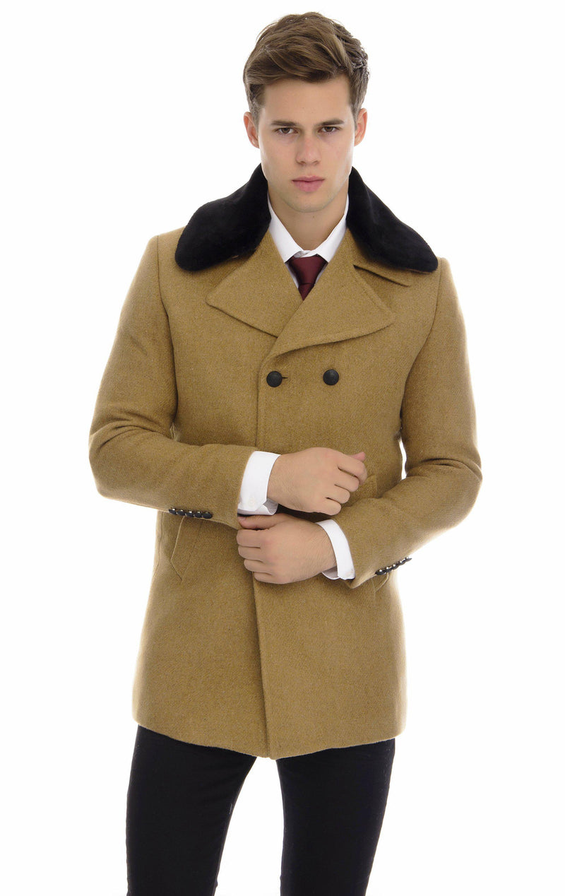 Removable collar wool melange pea coat - Ron Tomson